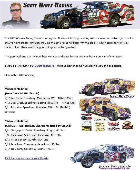 Scott Bintz Racing Newsletter May 2009