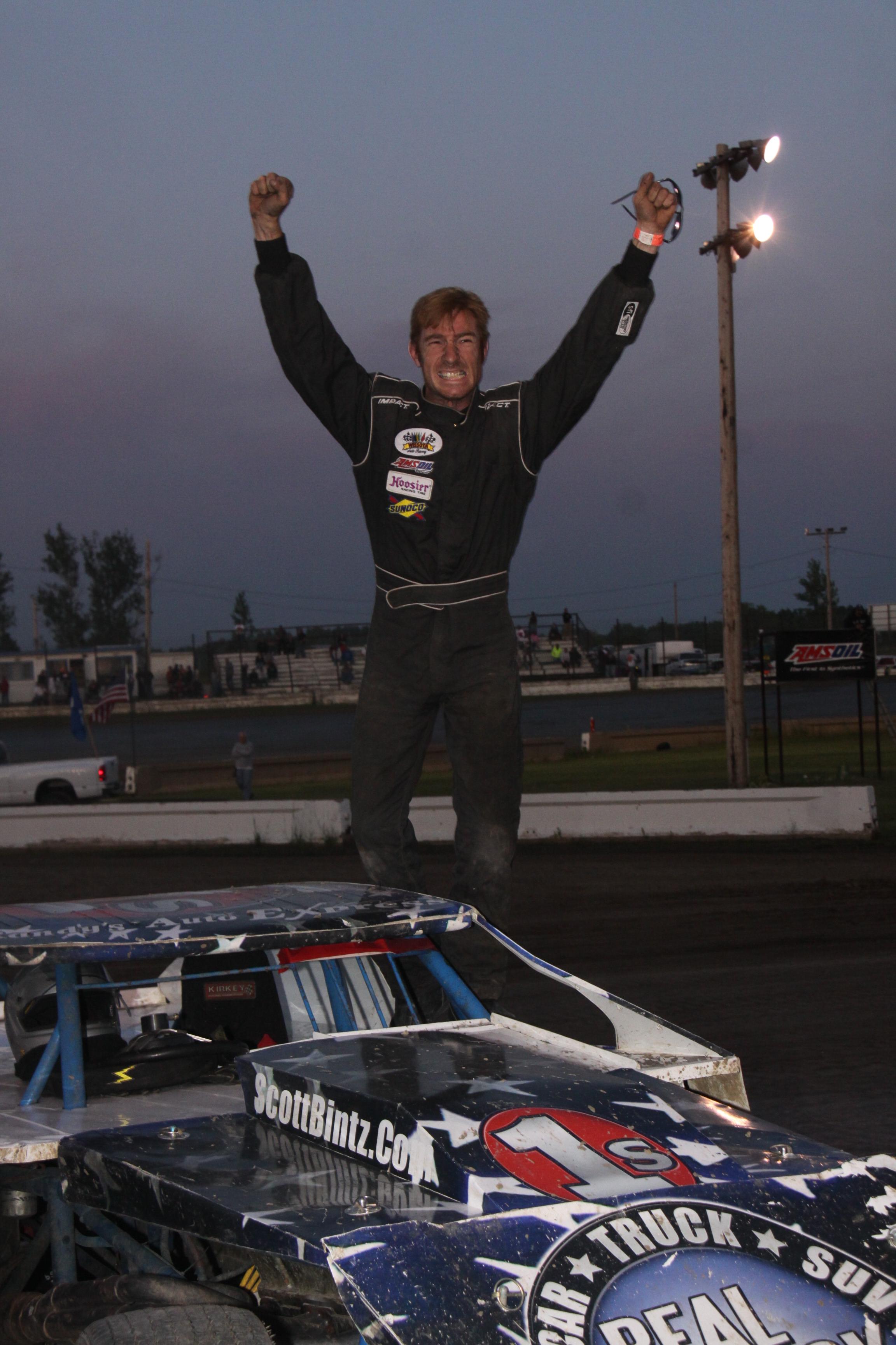 Scott Bintz Feature Win Jamestown Speedway 6-27-09