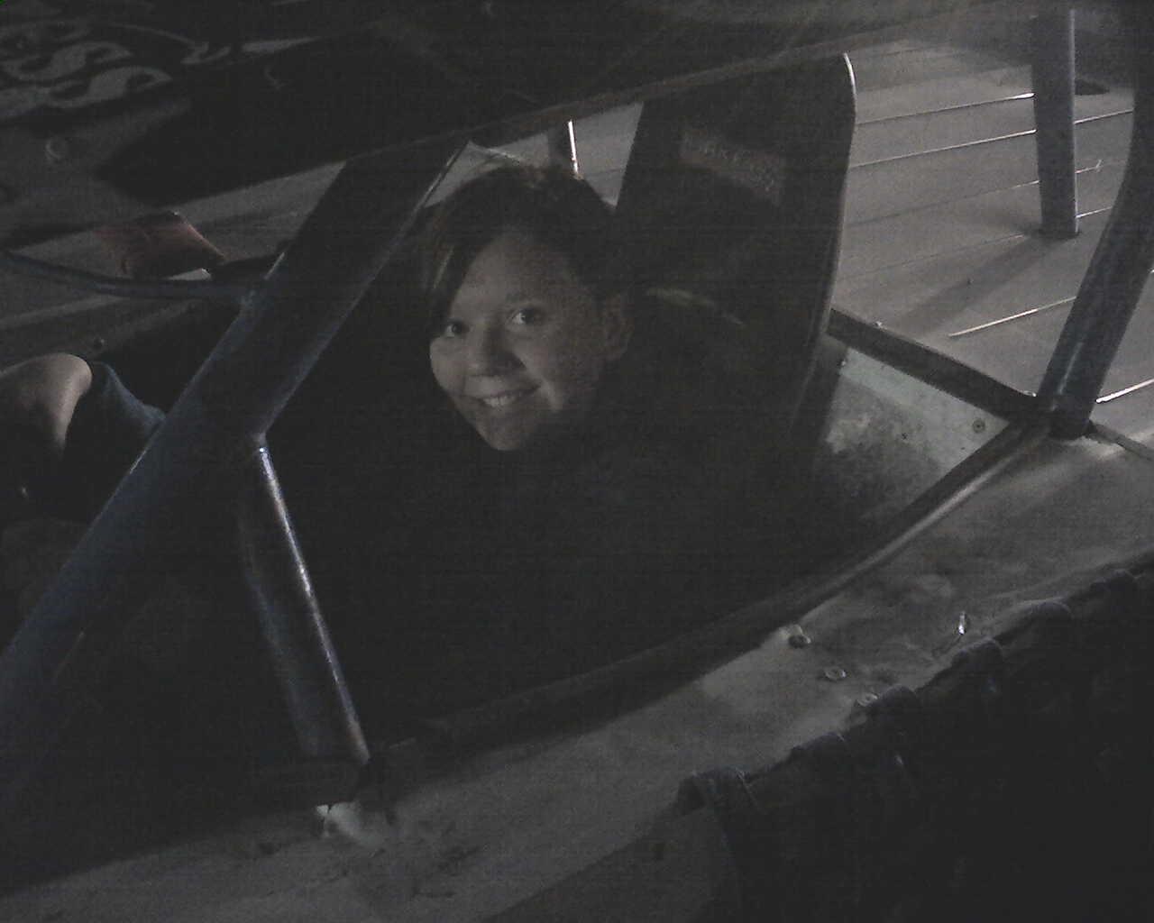 Meghan in the car after the races