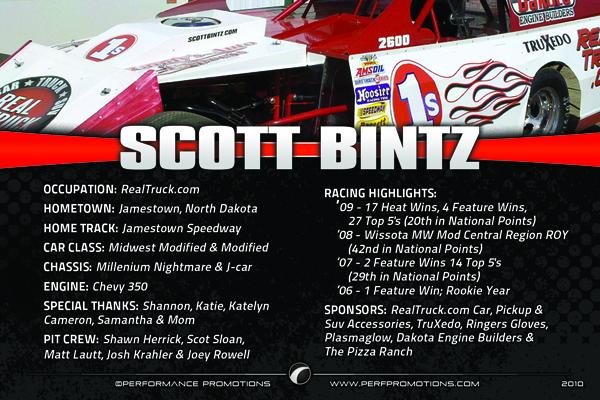 2010 Scott Bintz Driver Card Back