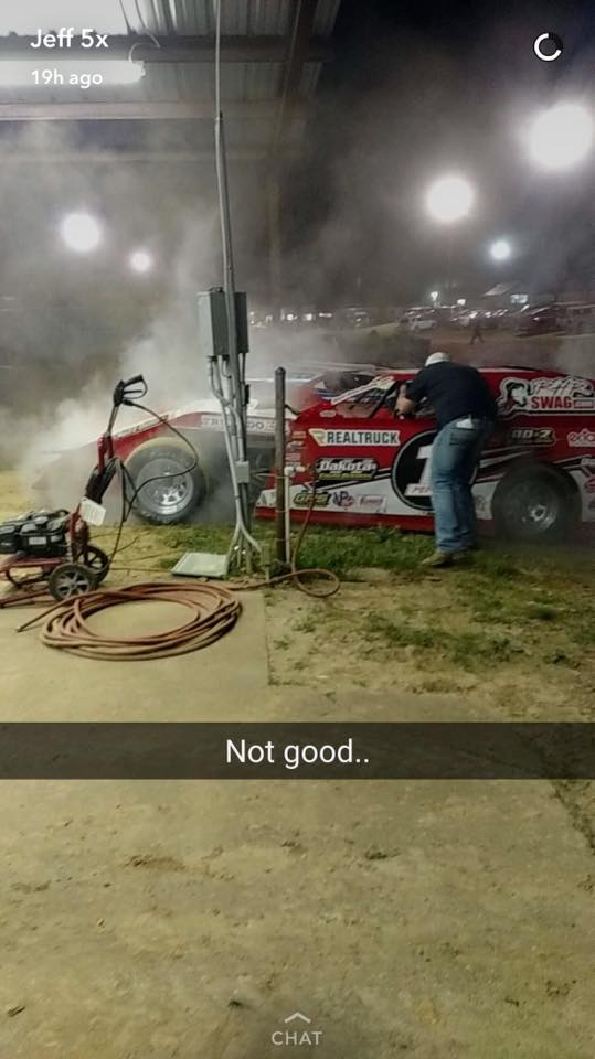 Travis Saurer after the Heat Race Friday Night