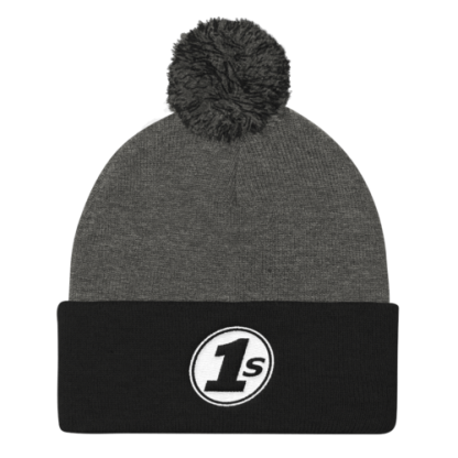 1s Pom Pom Knit Cap - Dark Heather Grey & Black