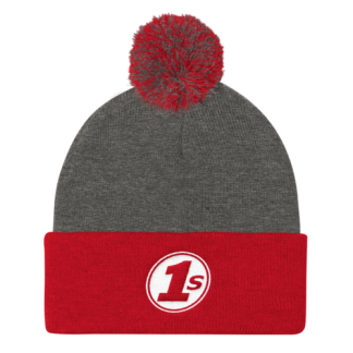 1s Pom Pom Knit Cap - Dark Heather Grey & Red